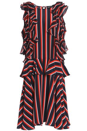 MARKUS LUPFER Ruffled striped silk-crepe dress
