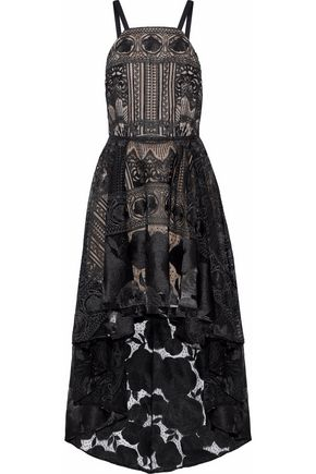 MARCHESA NOTTE Embellished metallic tulle gown