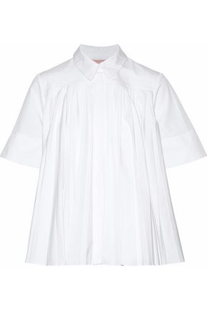 ROKSANDA Pleated cotton-poplin top