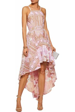 MARCHESA NOTTE Embellished metallic-embroidered tulle dress