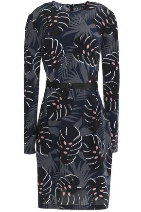 MARKUS LUPFER Belted printed silk crepe de chine dress