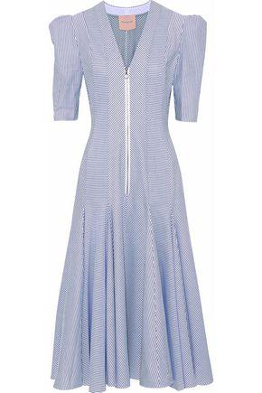 ROKSANDA Pleated striped cotton midi dress