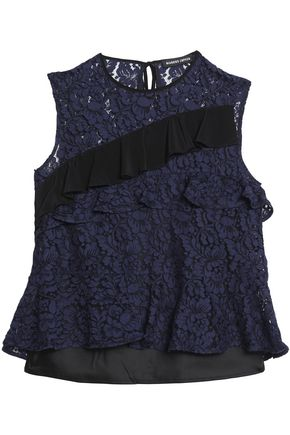 MARKUS LUPFER Ruffled two-tone lace top