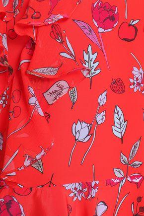 MARKUS LUPFER Ruffled printed silk-gauze and crepe de chine dress