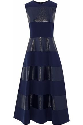 ROKSANDA Paneled coated cady midi dress