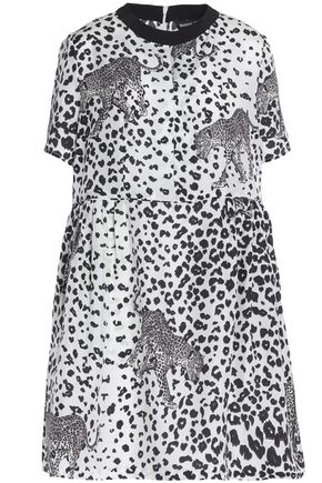 MARKUS LUPFER Flared leopard-print silk crepe de chine mini dress