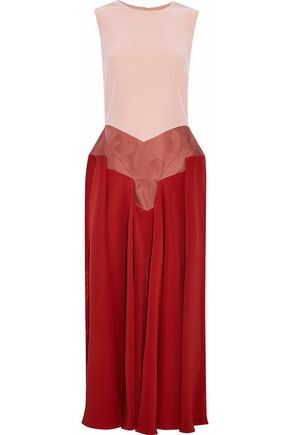 ROKSANDA Paneled satin, twill and crepe de chine midi dress