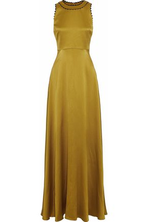 ROKSANDA Open-back hammered silk-satin gown