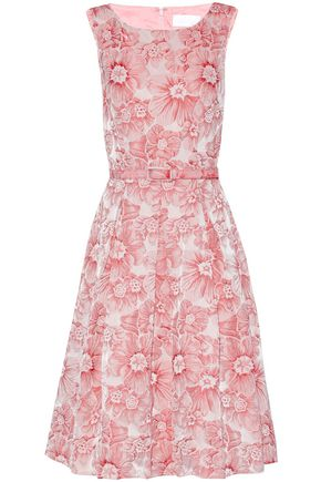 MIKAEL AGHAL Pleated floral-jacquard dress