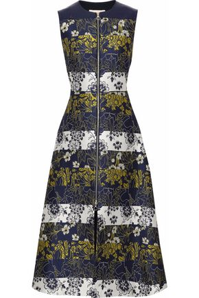 ROKSANDA Flared paneled jacquard midi dress