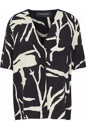 BY MALENE BIRGER Nanah wrap-effect printed crepe top