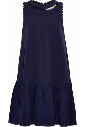 ROKSANDA Seersucker-paneled cady mini dress