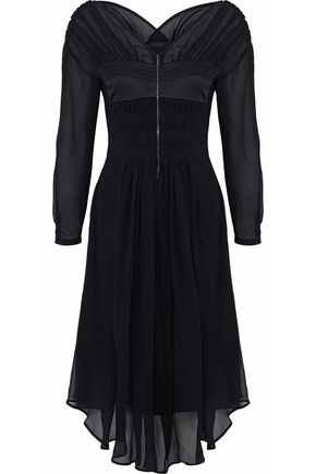 BELSTAFF Satin-paneled silk-georgette midi dress