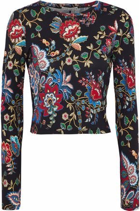ALICE + OLIVIA JEANS Delaina cropped floral-print stretch-jersey top