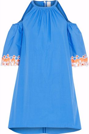 PETER PILOTTO Cold-shoulder eyelet cotton-poplin mini dress