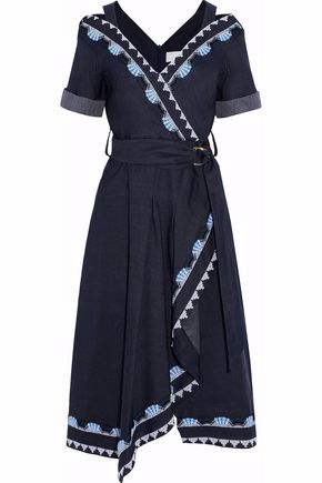PETER PILOTTO Asymmetrical embroidered cotton and linen-blend chambray midi dress