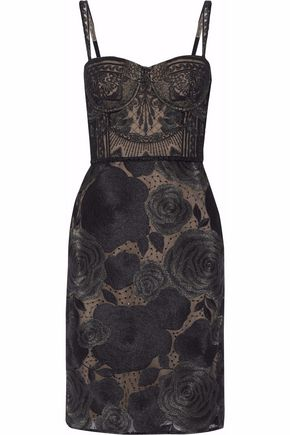 MARCHESA NOTTE Metallic-embroidered tulle dress