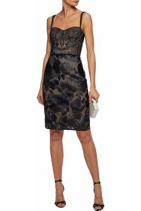 MARCHESA NOTTE Metallic embellished tulle dress