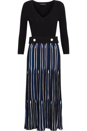 DEREK LAM Paneled button-embellished color-block ribbed-knit midi dress