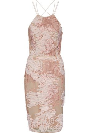 MARCHESA NOTTE Tie-back chiffon-appliquéd embroidered tulle dress