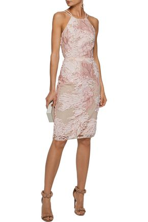 Marchesa Notte Tie Back Chiffon Liquéd Embroidered Tulle Dress
