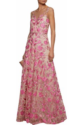 MARCHESA NOTTE Embroidered tulle gown
