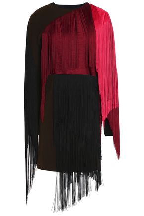 LANVIN Layered fringed wool-blend mini dress