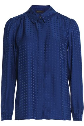 VANESSA SEWARD Gathered silk-jacquard shirt