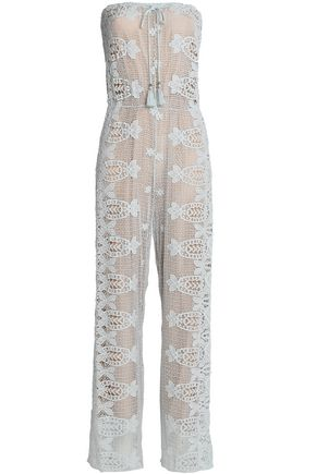 MIGUELINA Strapless layered tasseled macrame lace jumpsuit
