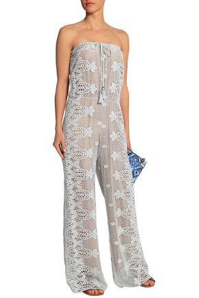 MIGUELINA Strapless layered tasseled macrame lace jumpsuit