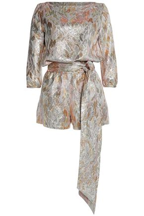 VANESSA SEWARD Belted metallic brocade playsuit