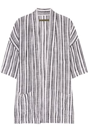 ENZA COSTA Striped cotton-gauze jacket