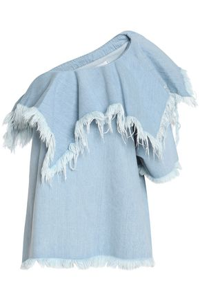 MARQUES ' ALMEIDA One-shoulder frayed cotton-chambray top