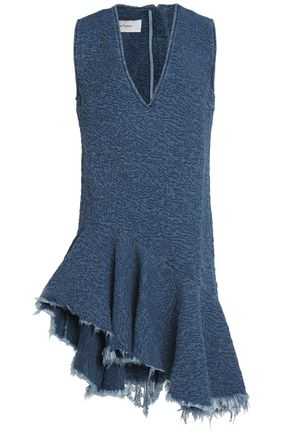 MARQUES ' ALMEIDA Asymmetric ruffled denim mini dress