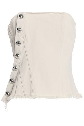 MARQUES ' ALMEIDA Strapless studded denim bustier top