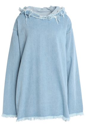 MARQUES ' ALMEIDA Hooded frayed chambray top