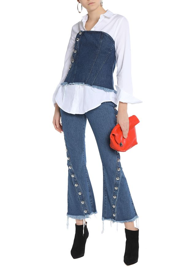 Strapless studded denim bustier top | MARQUES ' ALMEIDA | Sale up to 70% off  | THE OUTNET