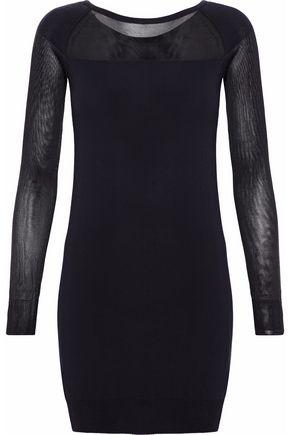 MM6 MAISON MARGIELA Mesh-paneled cotton-blend jersey mini dress