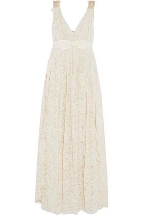 LANVIN Bow-embellished pleated lace gown