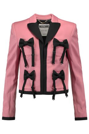 MOSCHINO Bow-embellished satin-crepe jacket