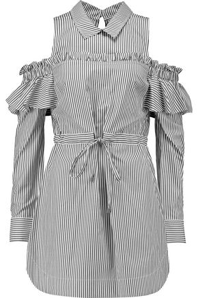 REBECCA VALLANCE Cold-shoulder striped poplin mini dress