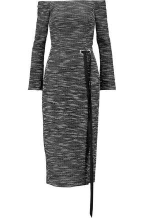 REBECCA VALLANCE Off-the-shoulder embellished tweed midi dress