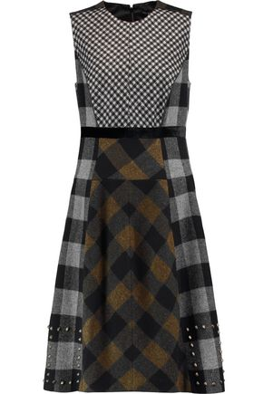 ETRO Studded paneled checked wool-blend felt dress