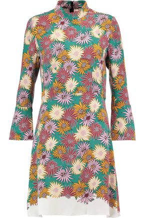 MARNI Frayed printed silk-crepe dress