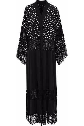 DOLCE & GABBANA Paneled guipure lace and polka dot silk-blend maxi dress