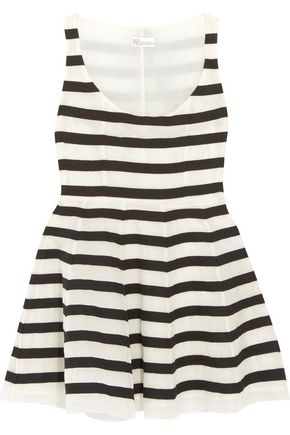 REDValentino Striped cotton-organza mini dress