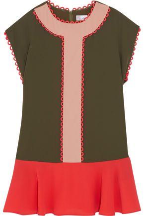 REDValentino Picot-trimmed color-block crepe mini dress