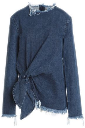 MARQUES ' ALMEIDA Tie-front frayed denim top