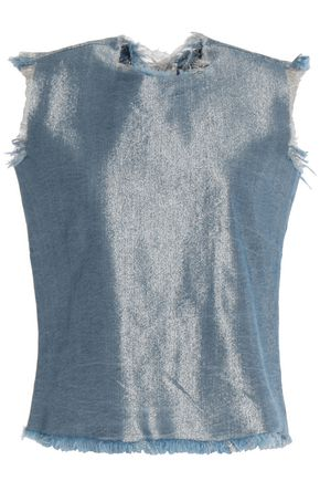 MARQUES ' ALMEIDA Frayed iridescent denim top