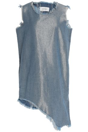 MARQUES ' ALMEIDA Asymmetric metallic denim mini dress